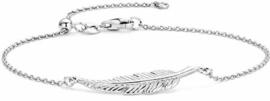 New Bling 910470926 - Zilveren armband - jasseron - veer 30 mm - lengte 18 + 3 cm - zilverkleurig