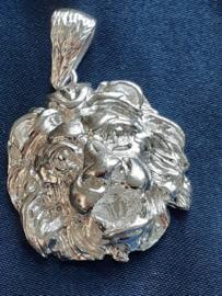 leeuwenkop hanger zilver