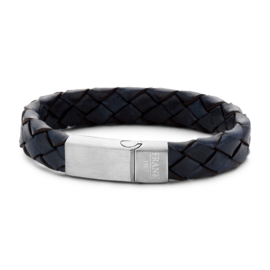 Blue braided leather bracelet with stainless steel closure
