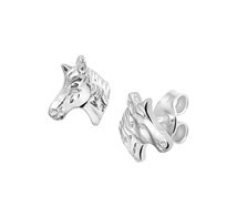 Zilveren oorknoppen paardenhoofd