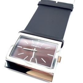 Prisma dameshorloge met zwart lederen horlogeband