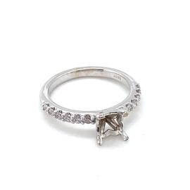 Nieuw 14k montuur voor ring met princess diamant, bezet met 0.25ct diamant