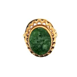 Occasion gouden ring met jade steen met bloemversiering