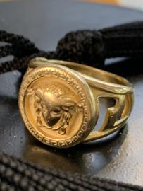 -***Occasion geelgouden Versace ring massief
