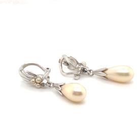 Occasion zilveren oorclips met parels en zirkonia