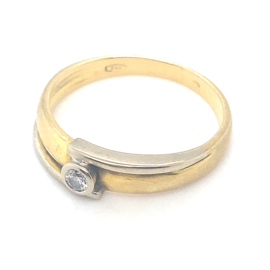 Occasion bicolor gouden ring met diamant 0.10ct