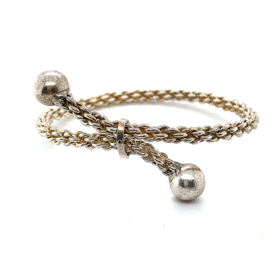 Occasion gevlochten zilveren klemarmband 2 bollen