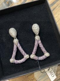 Kmo oorbellen paars triangel