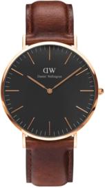 Daniel Wellington DW00100124 Classic Black St Mawes - Horloge - Leer - Bruin - Ø 40 mm