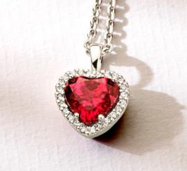 Hanger hart rhodoliet en diamant 0.10ct H SI