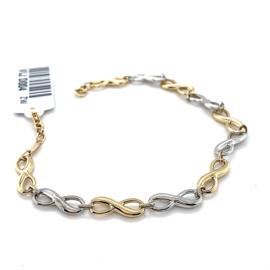 Nieuwe bicolor gouden armband met infinity schakels