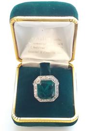 Vintage franse art-deco ring met smaragd