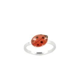 Zilveren Ring Ladybug