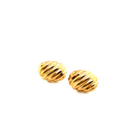 Occasion gouden oorknoppen ovaal geribbeld