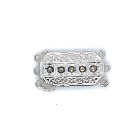 3-Snoer zilveren sluiting met 5 markasiet