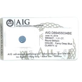 AIG blauwe diamant - 1.21 ct - rond briljant