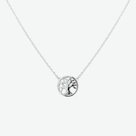 Zilveren collier levensboom 41 + 4 cm