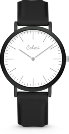 Colori Essentials 5 Horloge - Siliconen Band - Ø 40 mm - Zwart