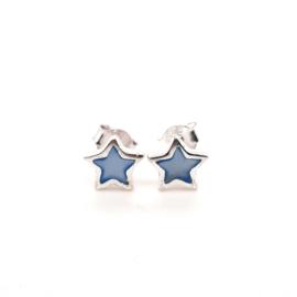 Zilveren oorknoppen ster blauw