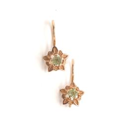 Occasion rosé gouden oorbellen met gele diamant