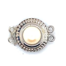 2-Snoer zilveren sluiting met imitatie parel
