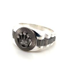 Zilveren deels zwarte zegelring Crown Collectie
