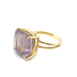 Occasion gouden ring met paarse amethist