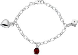 Lilly bedelarmband lieveheersbeest, hart en dobbelsteen - zilver - rood - jasseron - 16cm