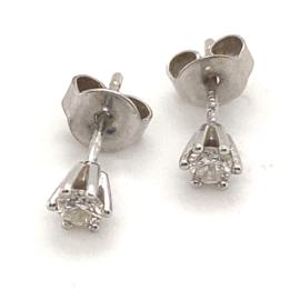 Occasion witgouden solitair oorknoppen met diamant 0.30ct VSI-F
