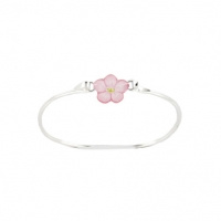 Zilveren Bangle Flower