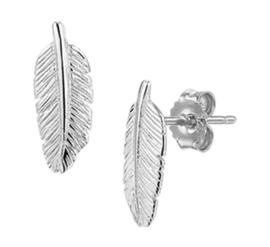 Oorknoppen Veer - Zilver Gerhodineerd