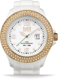 Tutti Milano TM004WH-RO-Z-Horloge - 48 mm - Wit - Collectie Cristallo
