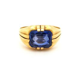 Occasion gouden heren zegelring met blauwe steen