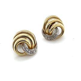 Occasion fantasie bicolor gouden oorknoppen