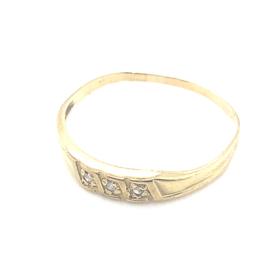 Occasion gouden fijne ring met 3 diamantjes 0.03ct