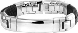 Armband Leder 14,5 mm 21 cm - Staal