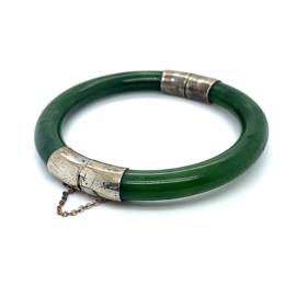 Occasion Jade bangle met zilver