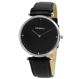 Prisma Herenhorloge P.1223 Lederen band zwart