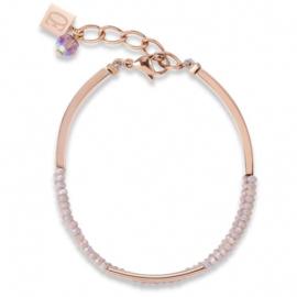 Coeur de Lion armband rosé met geslepen glas nude