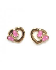 14 karaat kinderoorknoppen - open hart met strik - goudkleurig / roze
