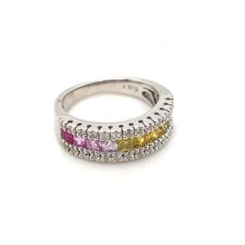 Occasion witgouden regenboog ring met saffieren en diamant 0.28ct
