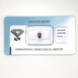 IGI diamant - 0.53 ct. - peervormig slijpsel - VS2 - Fancy Deep Brown