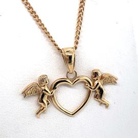 Occasion gouden collier met hartje en engeltjes
