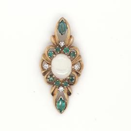 Geelgoudeen hanger ingelegd met opaal en smaragd , briljant