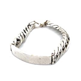Occasion zilveren massieve gourmet armband met graveerplaat