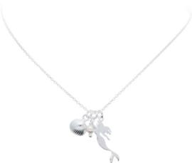 Lilly - Zilveren collier met hanger Wit - Jasseron - 40 cm