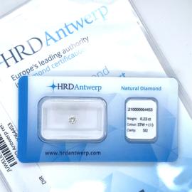 HRD Diamant - 0.23 ct. - briljant - STW + (I) / SI2