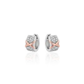 AG925 Zilveren oorbellen met roségouden accent en zirkonia