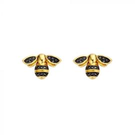 Mi Moneda Vintage oorbellen Bee Gold Plated Swarovski Crystals