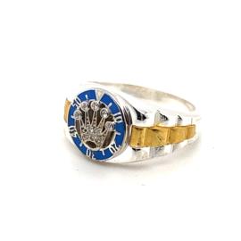 Zilveren bicolor ring Crown Collectie